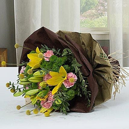 Exotic Flower Bouquet With Paper Packing