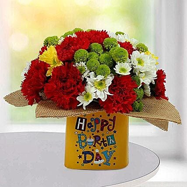 Festive Birthday Flower Arrangement