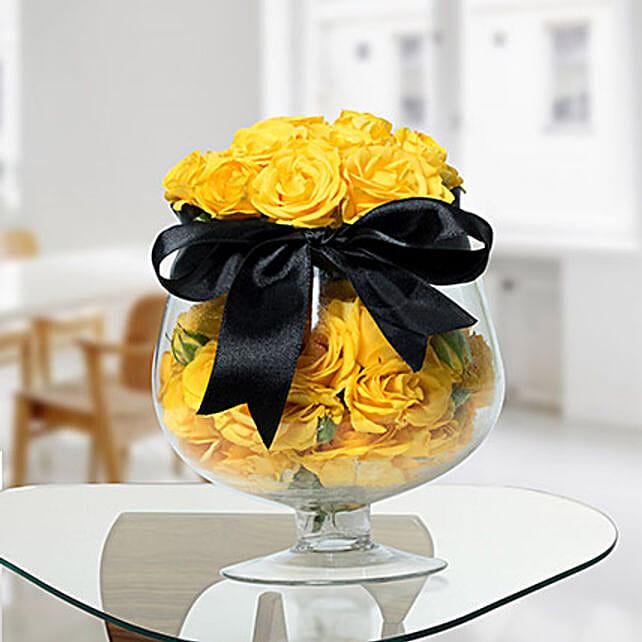 Lively Yellow Rose Arrangement