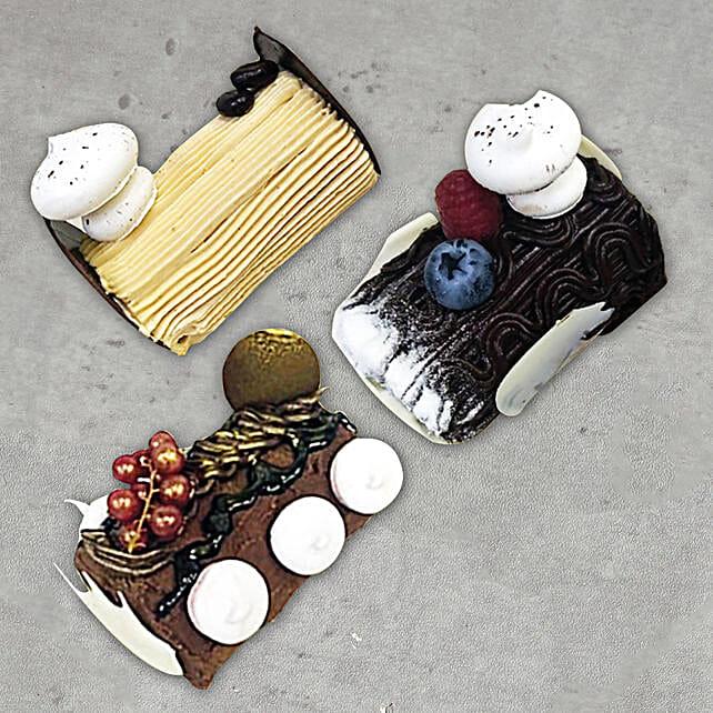Mixed Christmas Log Cakes