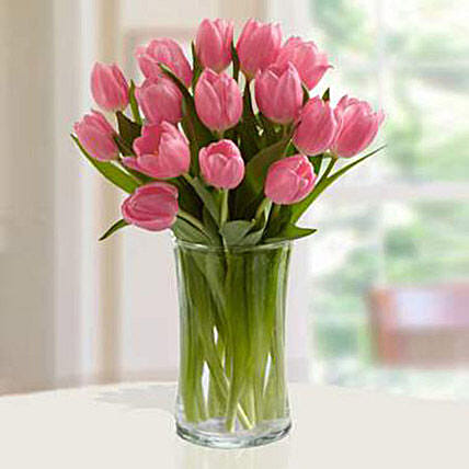 Pink Tulips Arrangement Premium