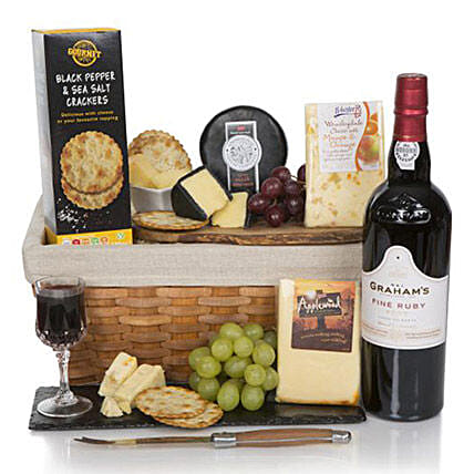 Luxury Port And Cheese Hamper