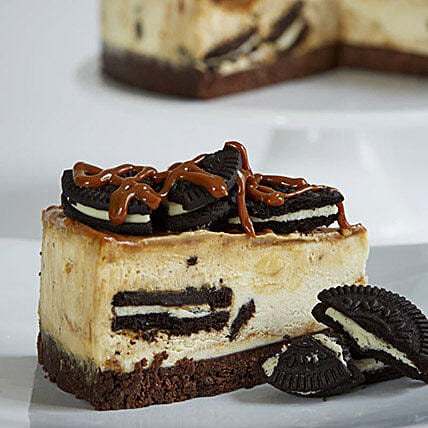 Salted Caramel Cookies and Cream Cheesecake