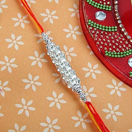 Silver Shine with Red Yellow Thread