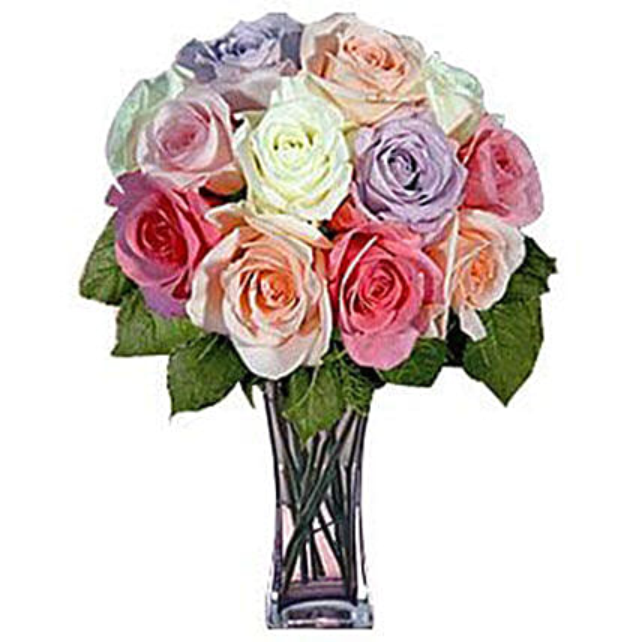 12 Long Stem Pastel Roses