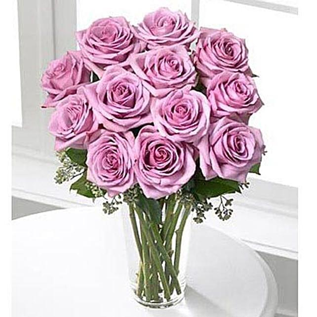 12 Long Stem Roses Lavender