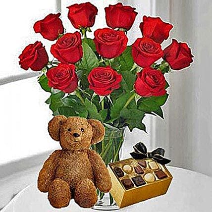 12 Red Roses Chocolates and Bear