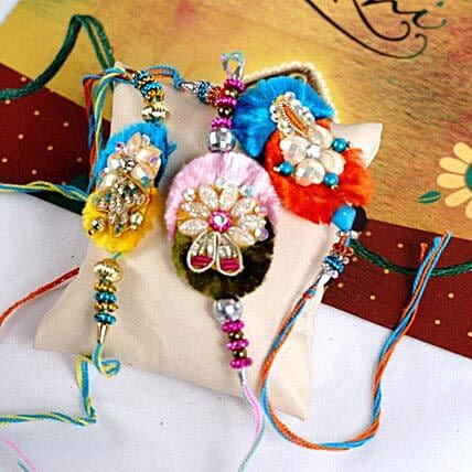 3 Amazing Beads Rakhi Set