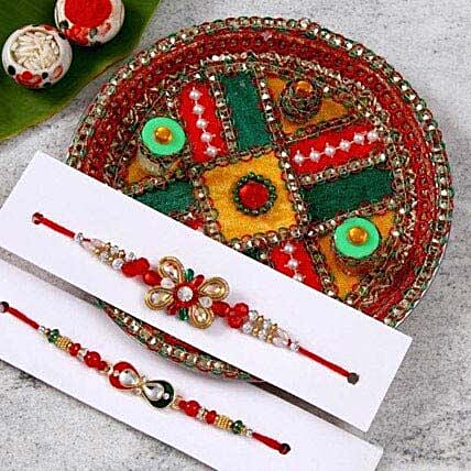 Alluring Rakhi Set With Puja Thali