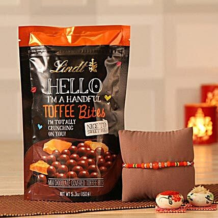 Beads Rakhi with Lindt Toffees