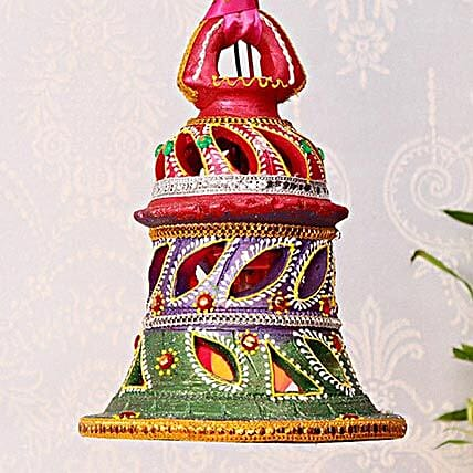 Bell Shaped Painted Clay Lamp