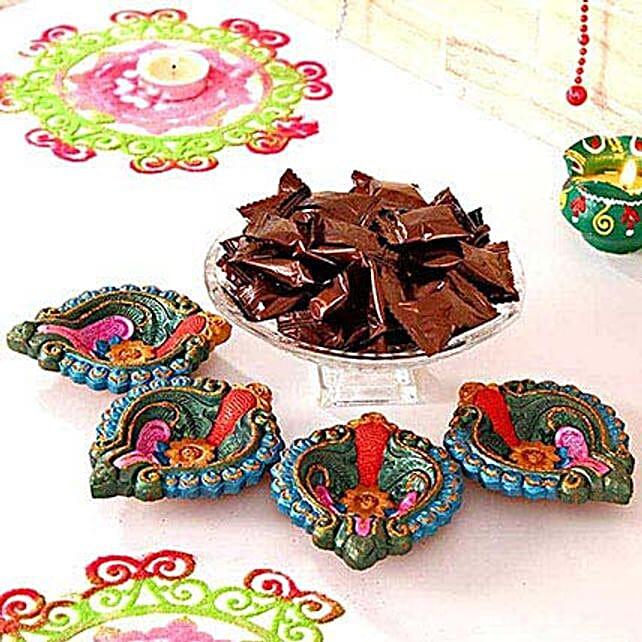 Colourful Clay Diyas N Espresso Candies