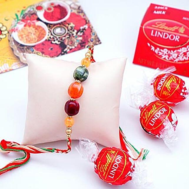 Designer Rakhi with Lindt Milk Truffles Pack