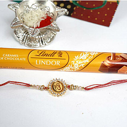Ek Omkaar Rakhi with Lindt Caramel Bar