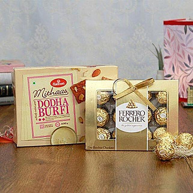 Ferrero Rocher Chocolates N Dodha Barfi