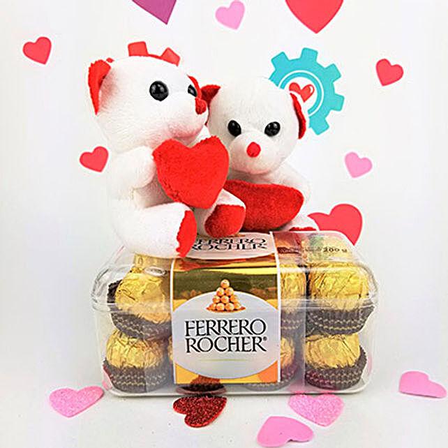 Ferrero Rocher Chocolates N Teddy Combo