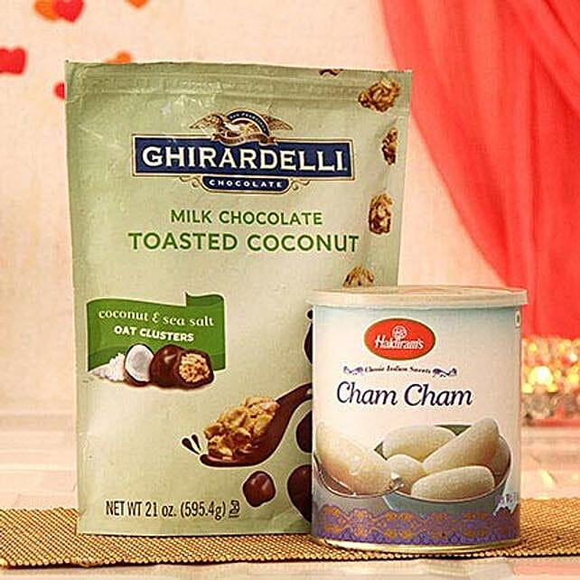 Ghirardelli Milk Chocolate N Haldiram Cham Cham