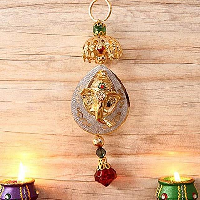 Golden Metallic Hanging Ganesha