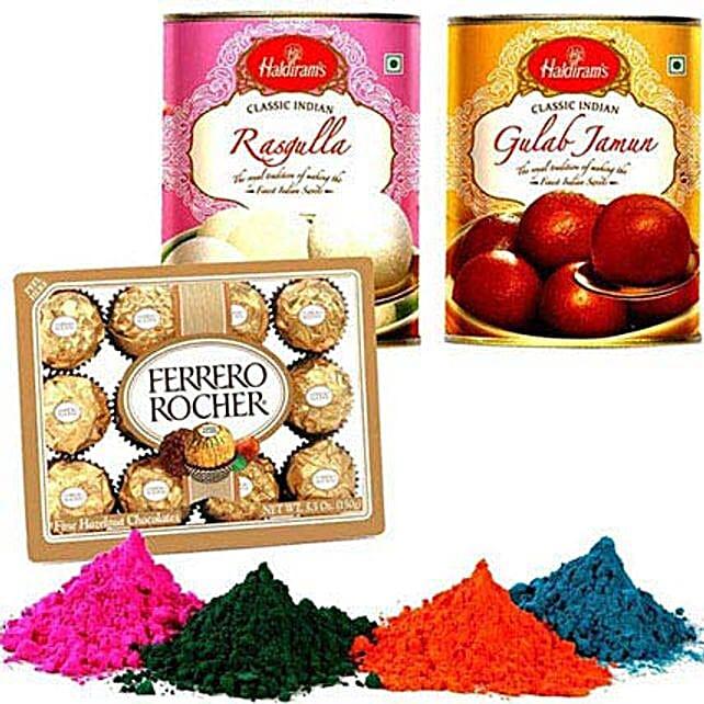 Gulab Jamun and Rasgulla with Holi Colors and Chocolate