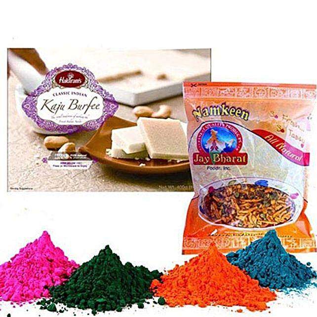 Kaju Barfi with Namkeen and Holi Colors