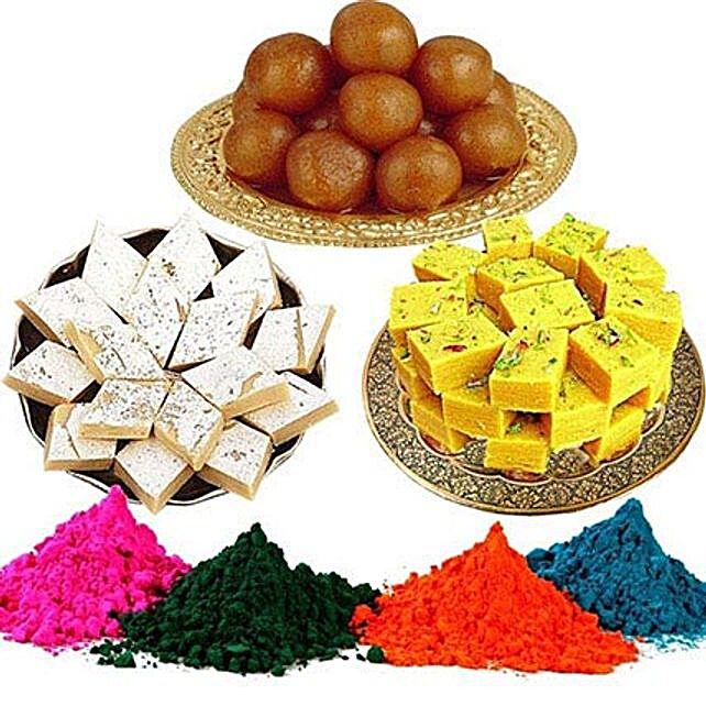 Kaju Barfi with Rasgulla Soan Papdi with Holi Colors