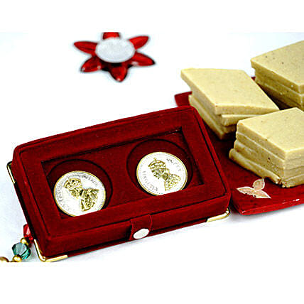 Kaju Katli with King and Queen Silver Coin