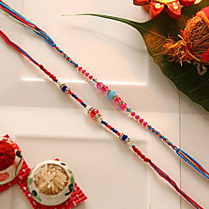 Multicolored Beaded Rakhi Set Of Two