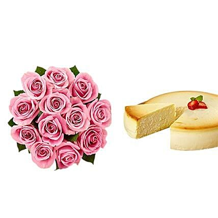 NY Cheescake with Pink Roses
