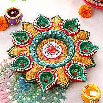 Painted Clay Diya with Batti Plate