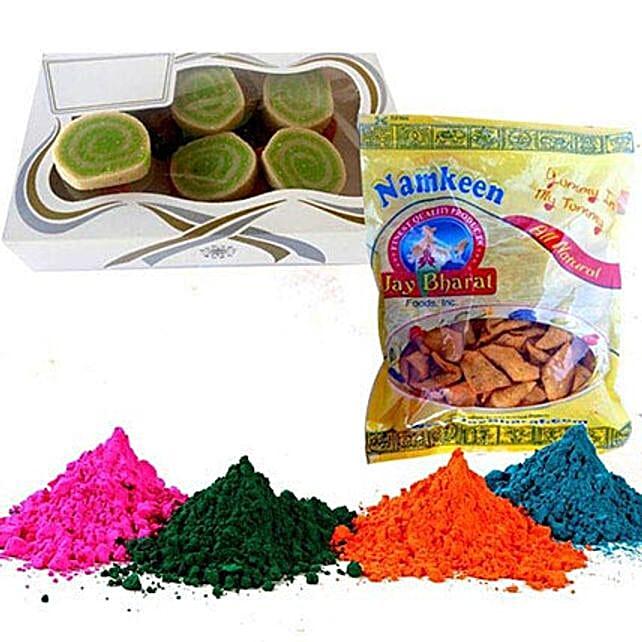 Pista Cassata with Namkeen and Holi Gulal