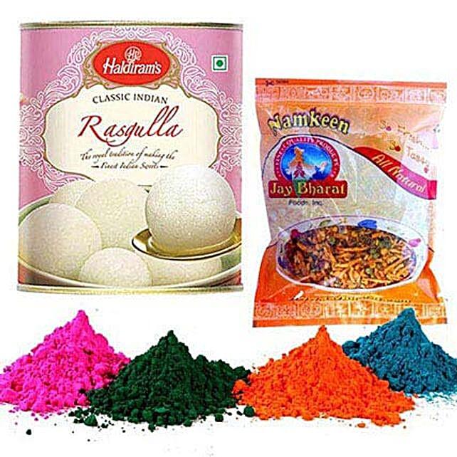 Ragulla with Chevda Namkeen and Holi Colors