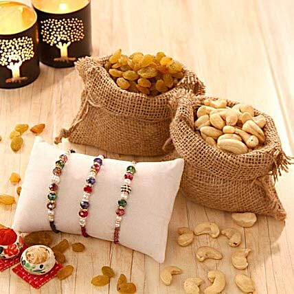 Rakhi Triplet with Dry Fruits