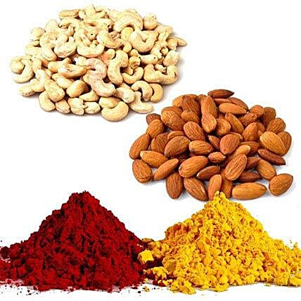 Red and Yellow Gulal with Dry Fruits