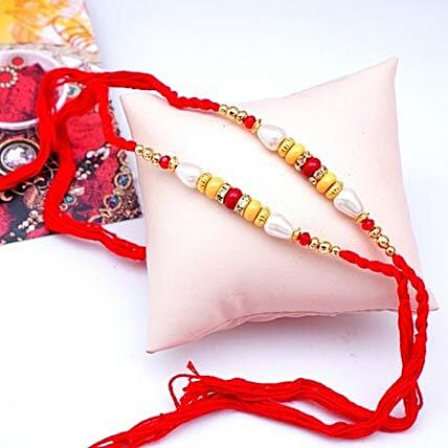 Red N Yellow Beads Rakhi