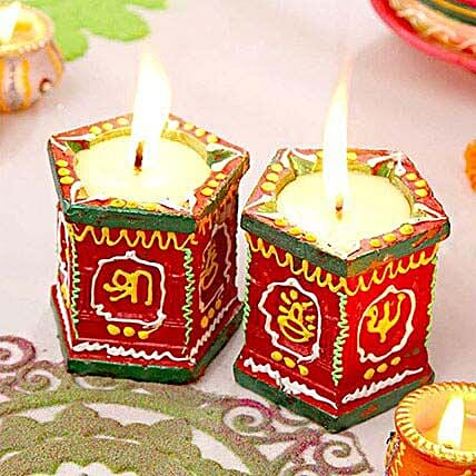 Set Of 2 Clay Diyas