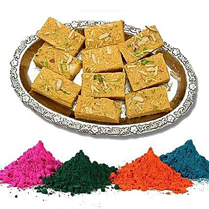 Soan Papdi with 4 Shades of Holi Colors