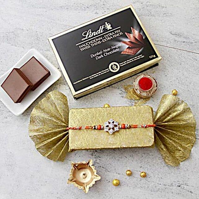 Stone Rakhi with Dark Lindt Chocolate