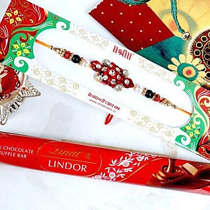 Stonework Rakhi with Lindt Milk Truffle Bar